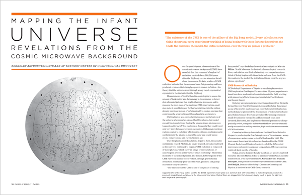 Physics at Berkeley 2013 Mapping the Infant Universe