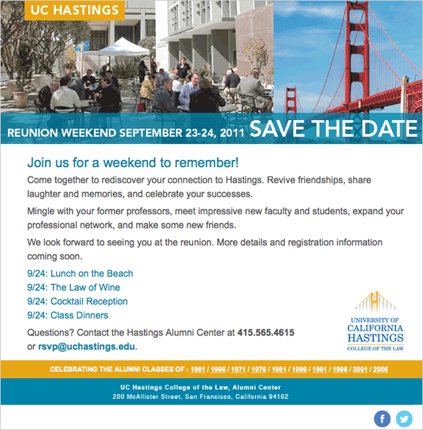 UC Hastings Alumni Email Save the Date