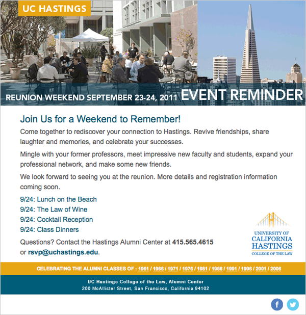 UC Hastings Alumni Email Event Reminder